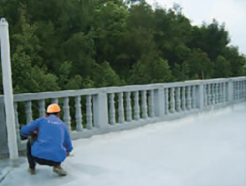 屋面高分子复合防水涂料涂刷现场