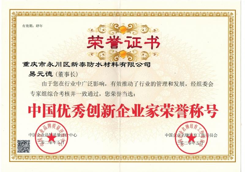 中国优 秀创新企业家荣誉称号